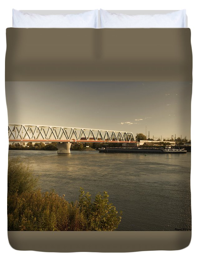 Winterpacht Duvet Cover featuring the photograph Bridge Over Rhein River by Miguel Winterpacht
