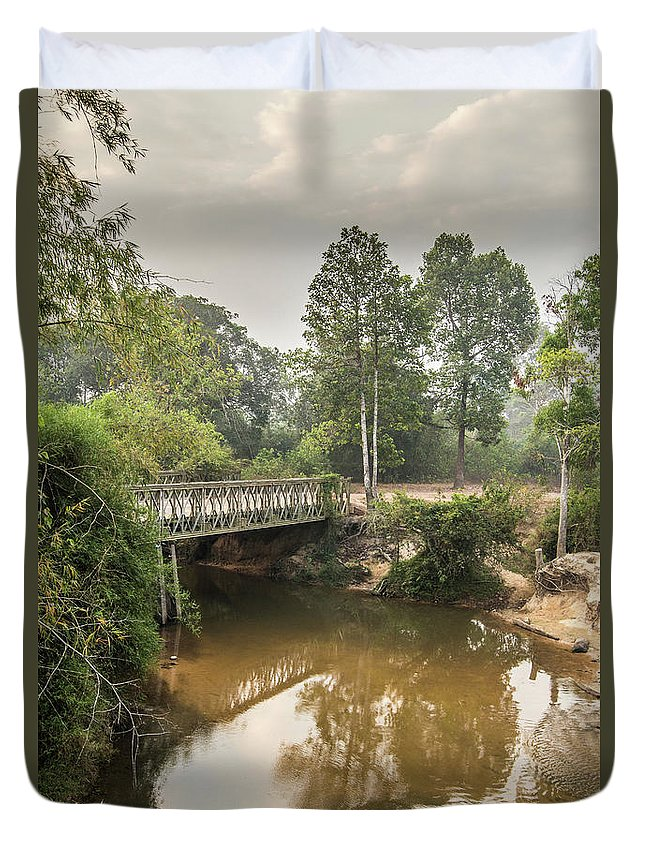 Tranquility Duvet Cover featuring the photograph Bridge Over Siem Reap River On The Road by Cultura Exclusive/gary Latham