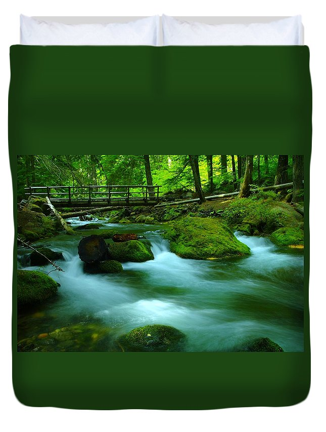 Water. Rivers Duvet Cover featuring the photograph Bridge Over The Tananamawas by Jeff Swan