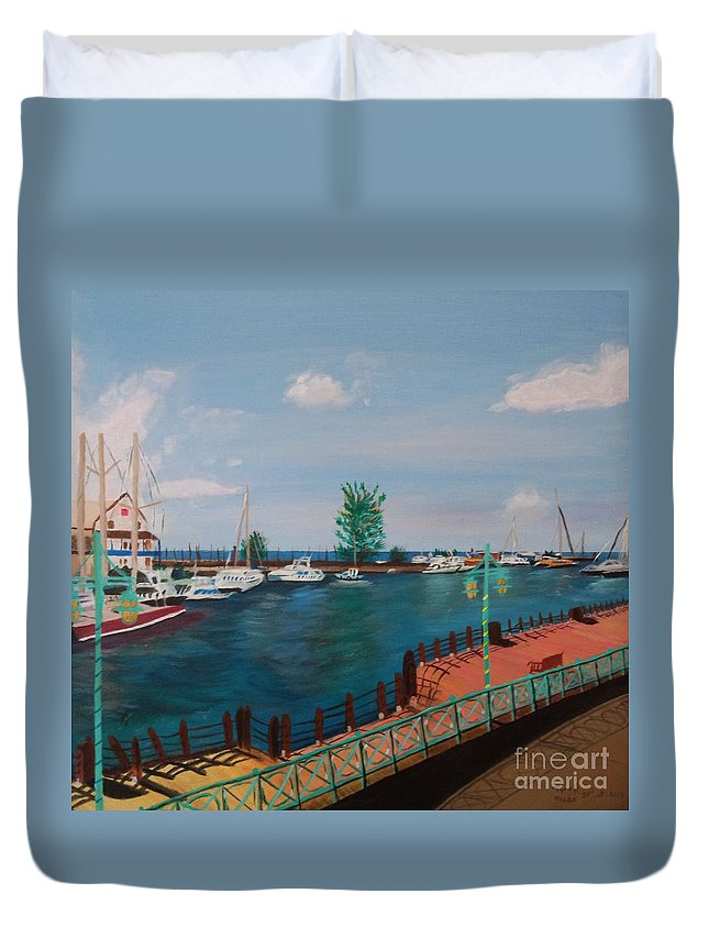 Barbados Duvet Cover featuring the painting Bridgetown Boardwalk by Tyrell Wade