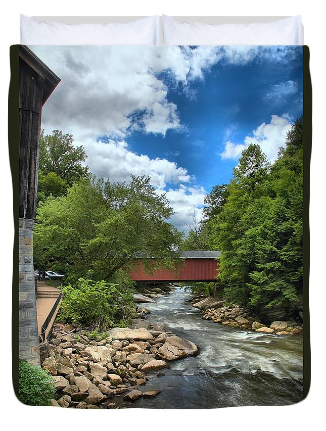Slippery Rock Creek Duvet Cover featuring the photograph Bridging Slippery Rock Creek by Adam Jewell