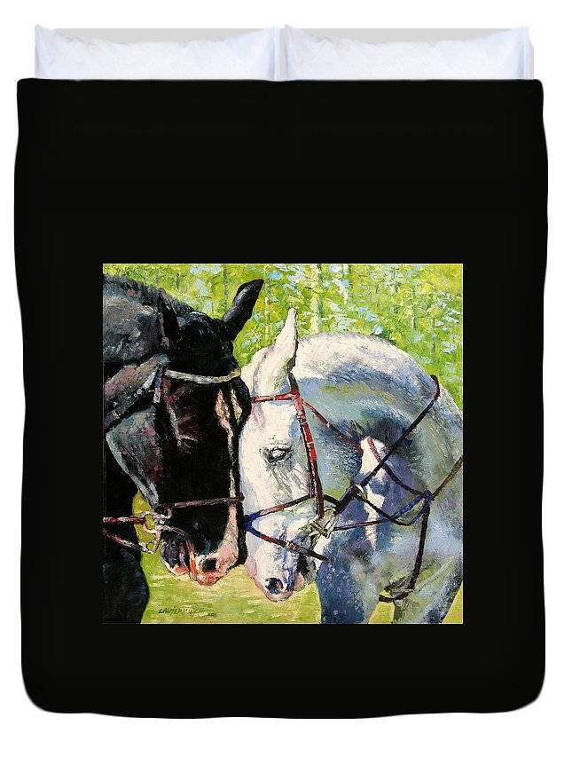 Horses Duvet Cover featuring the painting Bridled Love by John Lautermilch