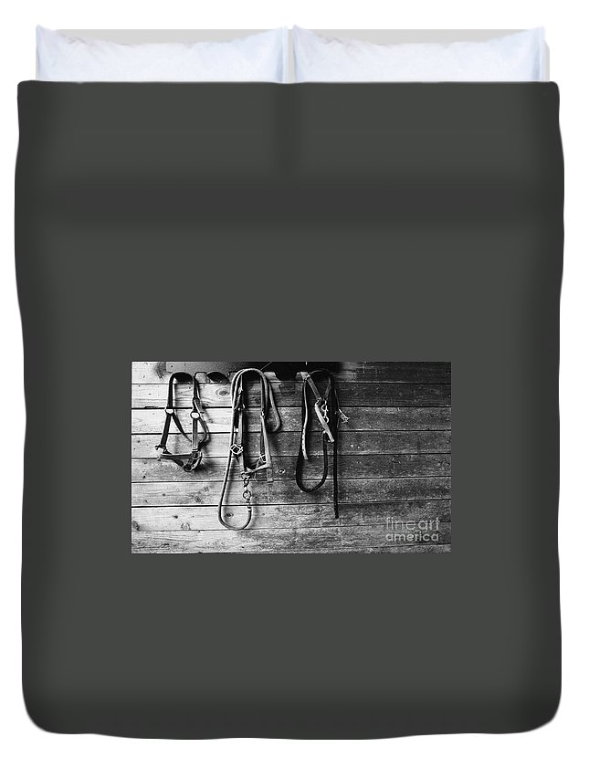 Bridles Duvet Cover featuring the photograph Bridles Bw by Mike Nellums