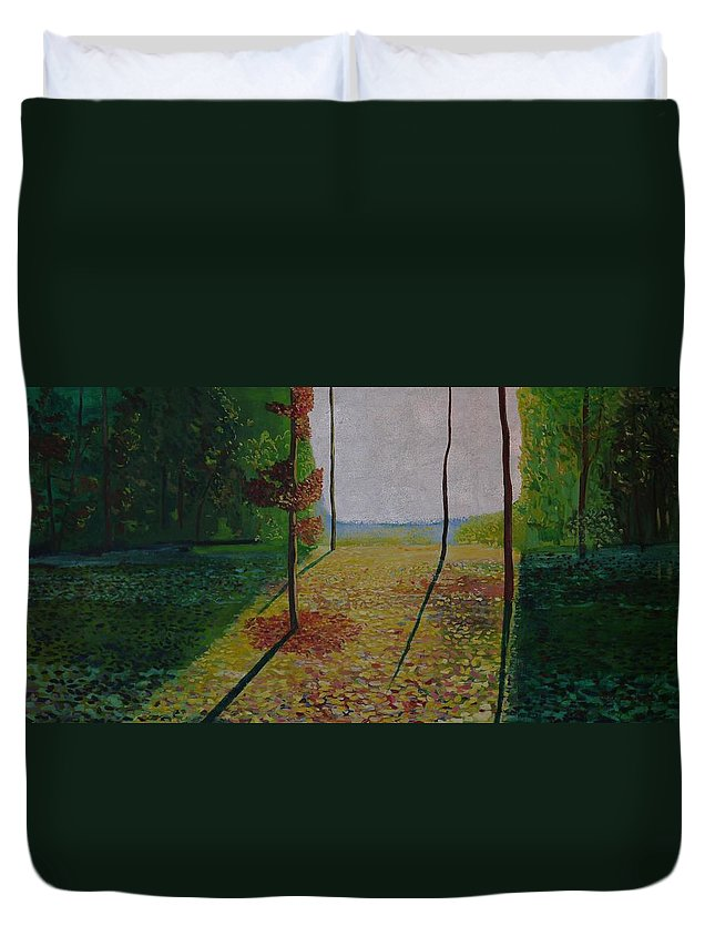 Duvet Cover featuring the painting Brief Look Of Sea In The King's Forest. by Jarle Rosseland