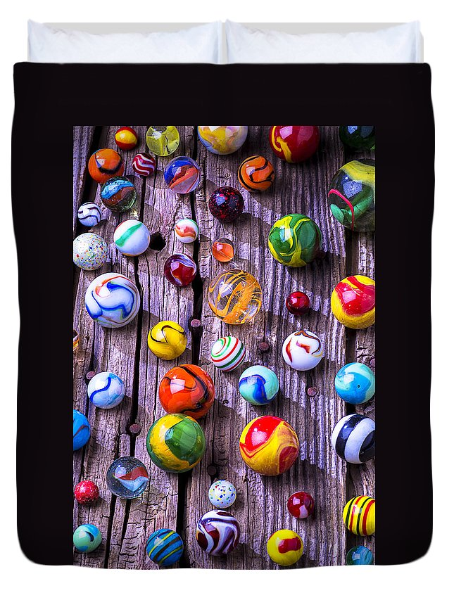 Marbles Duvet Cover featuring the photograph Bright Colorful Marbles by Garry Gay