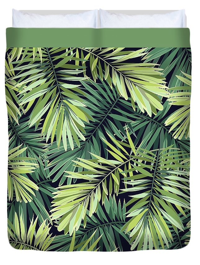 Tropical Rainforest Duvet Cover featuring the digital art Bright Green Background With Tropical by Msmoloko