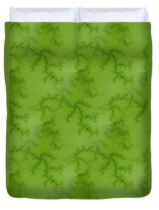 Fractal Duvet Cover featuring the digital art Bright Green Fractal by Henrik Lehnerer