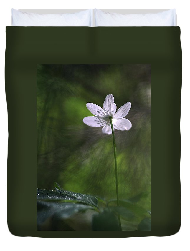 Photo Duvet Cover featuring the photograph Bright Light Flower by Dreamland Media