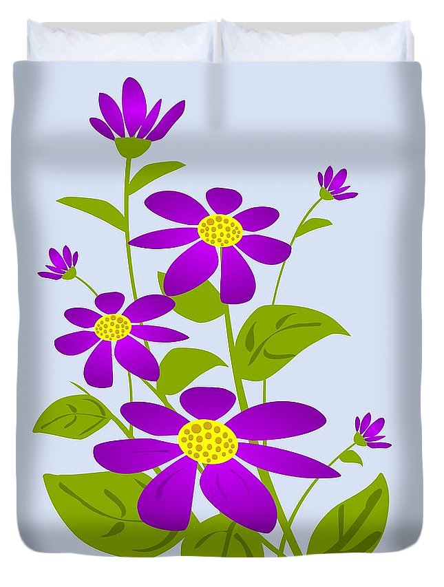 Plant Duvet Cover featuring the digital art Bright Purple by Anastasiya Malakhova