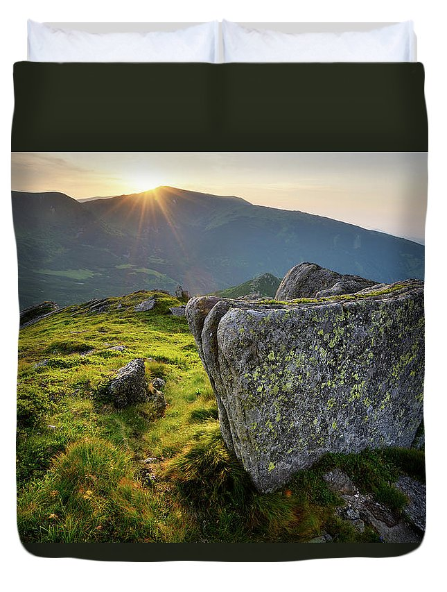 Scenics Duvet Cover featuring the photograph Bright Sunset Landscape In Mountains by Rezus