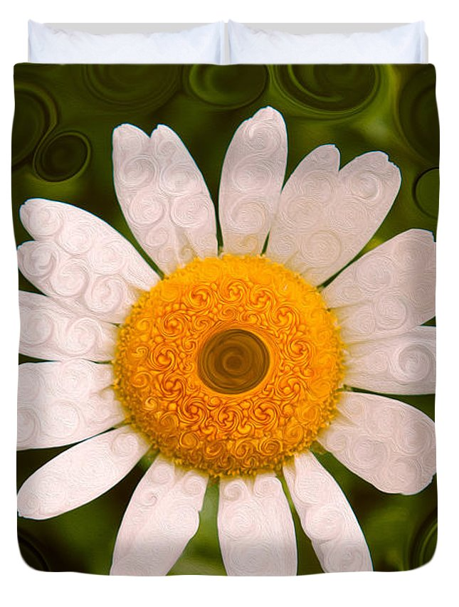 Bright Yellow And White Daisy Duvet Cover featuring the painting Bright Yellow And White Daisy Flower Abstract by Omaste Witkowski