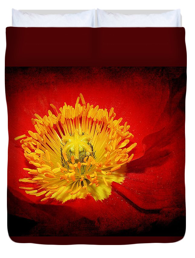 Flower Duvet Cover featuring the photograph Bright Yellow Poppy Center by Phyllis Denton