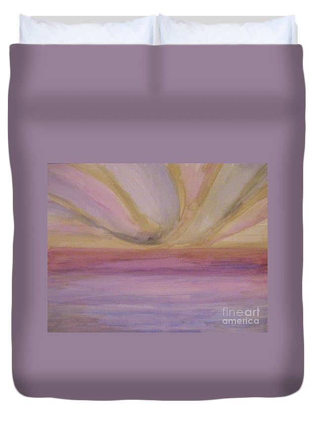 Landscape Duvet Cover featuring the painting Brighter Horizon by Lori Bace