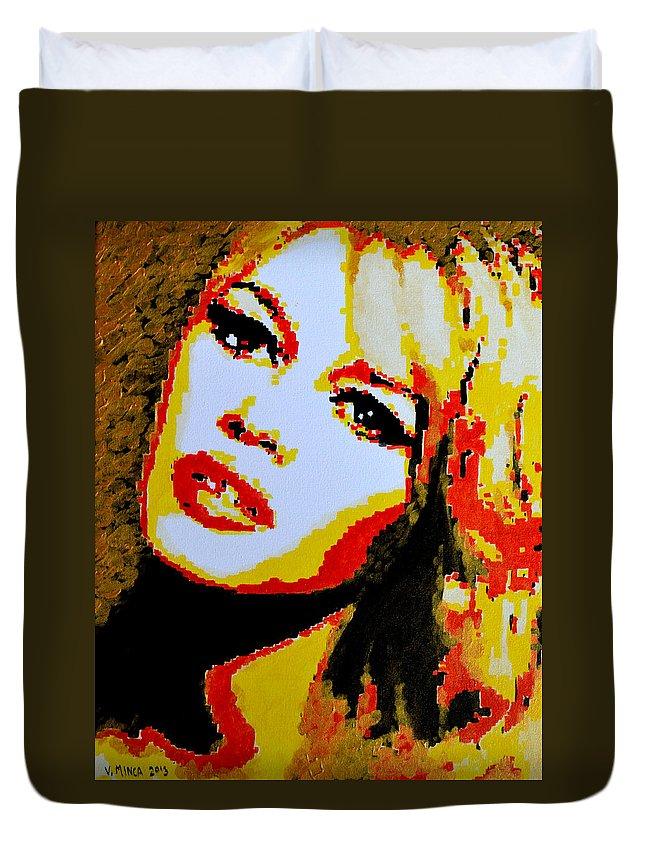 Brigitte Duvet Cover featuring the painting Brigitte Bardot by Victor Minca