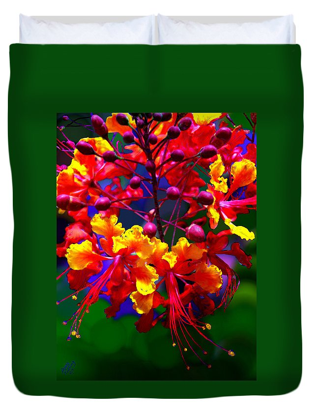 Red Duvet Cover featuring the painting Brilliant Bouquet by Bruce Nutting