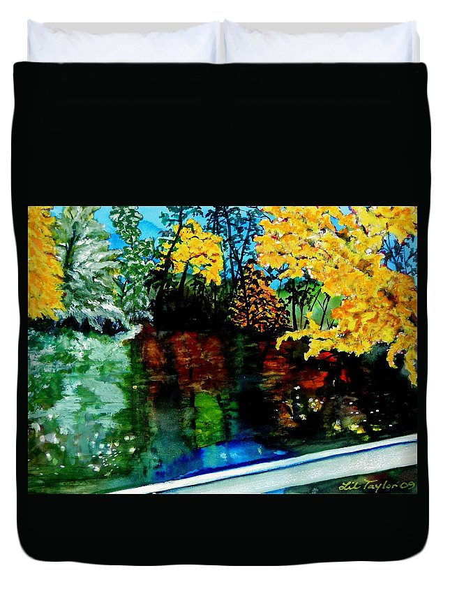 Mountains Duvet Cover featuring the painting Brilliant Mountain Colors In Reflection by Lil Taylor