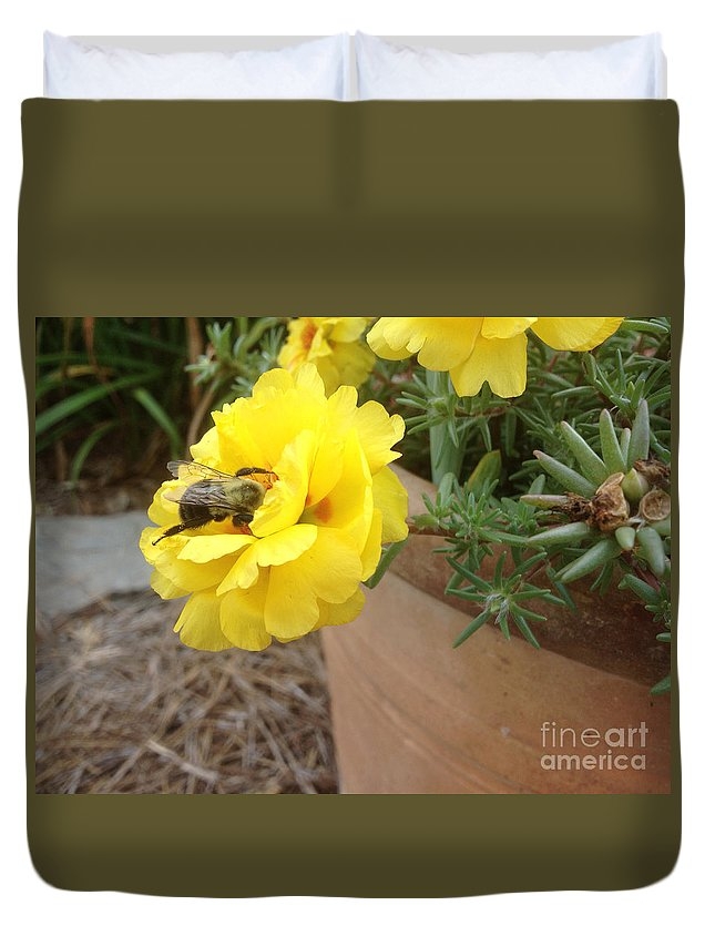 Bumble Bee Duvet Cover featuring the photograph Brilliant Rose Flower With Buzzy Bee by Crissy Anderson