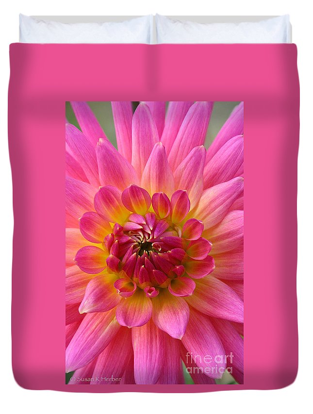 Flower Duvet Cover featuring the photograph Brilliantly Dahlia by Susan Herber