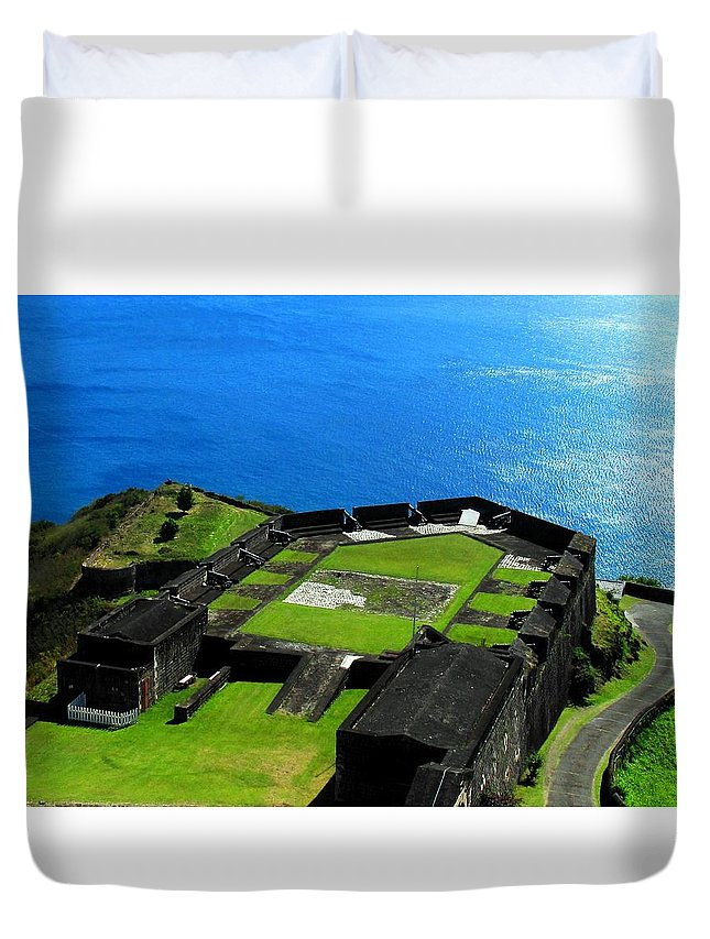 Brimstone Duvet Cover featuring the photograph Brimstone Fortress St Kitts by Ian MacDonald