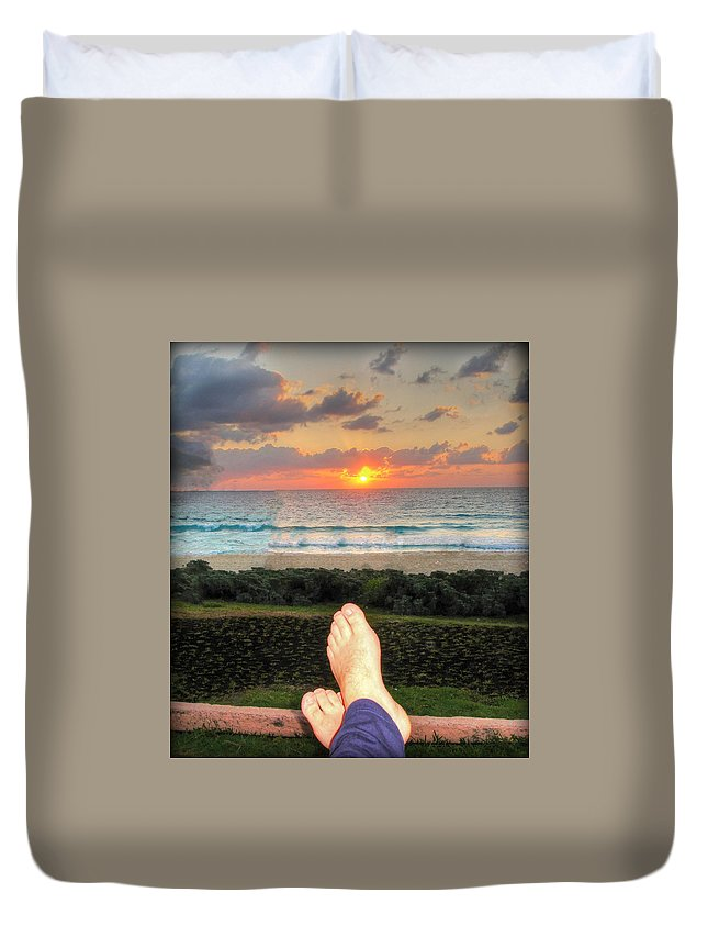 Sunset Duvet Cover featuring the photograph Bring On The Night by Kip Krause