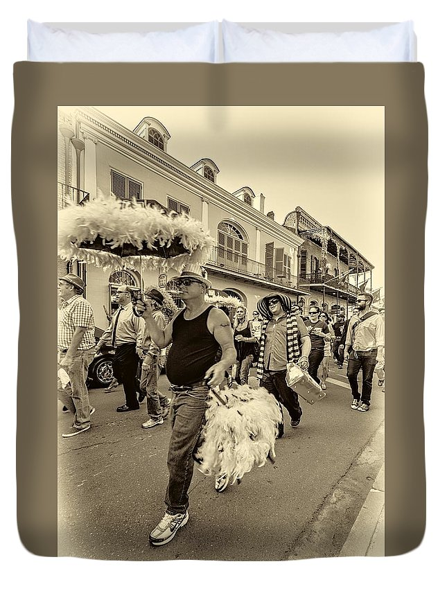 French Quarter Duvet Cover featuring the photograph Bringing Up The Rear Sepia by Steve Harrington