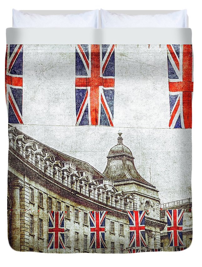 Hanging Duvet Cover featuring the photograph British Flags Flying Above Regent St by Doug Armand