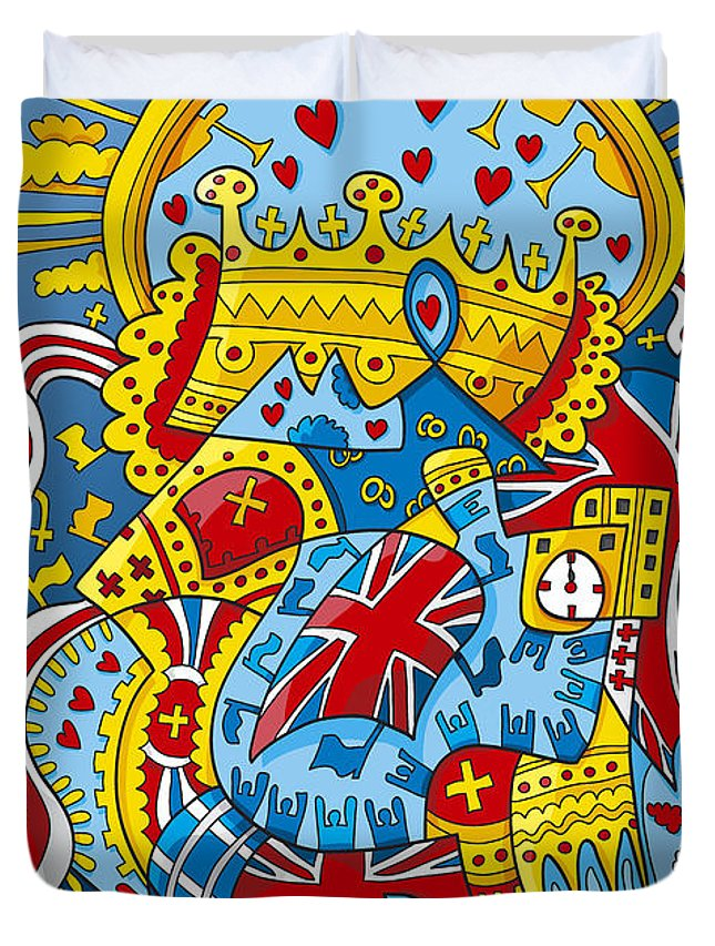 Frank Ramspott Duvet Cover featuring the digital art British Royal Ceremony Doodle by Frank Ramspott