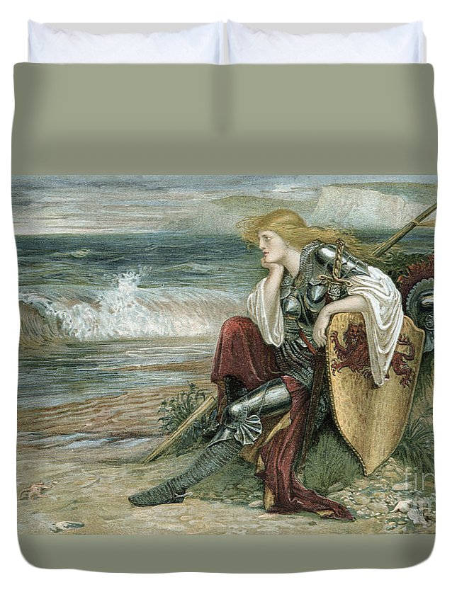 Britomartis Duvet Cover featuring the painting Britomart by Walter Crane