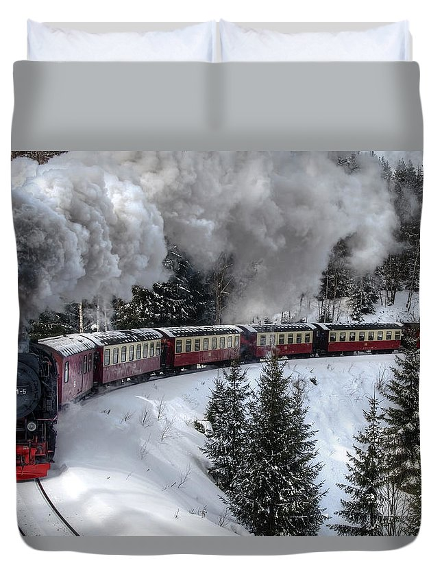 Christmas Duvet Cover featuring the pyrography Brockenbahn by Steffen Gierok