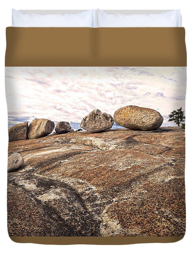 Bald Rock Dome Duvet Cover featuring the photograph Broken Glacial Erratics by Frank Wilson