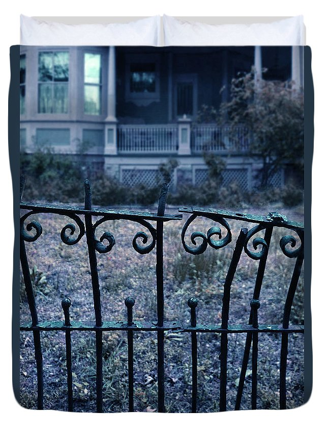 Gate Duvet Cover featuring the photograph Broken Iron Fence By Old House by Jill Battaglia