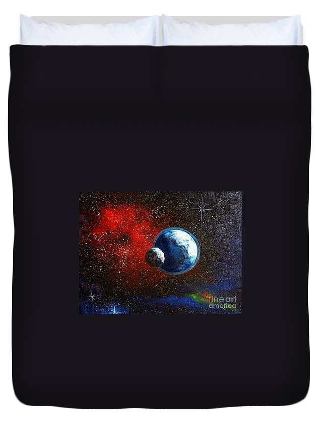 Astro Duvet Cover featuring the painting Broken Moon by Murphy Elliott