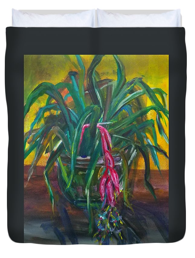 Duvet Cover featuring the painting Bromeliad by Anna Ruzsan