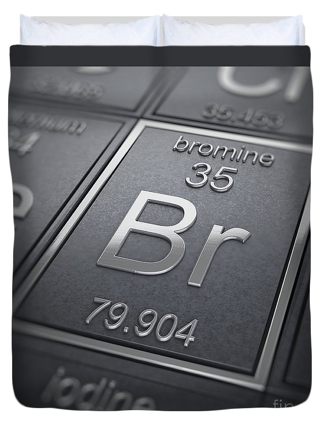 Periodic Table Duvet Cover featuring the photograph Bromine Chemical Element by Science Picture Co