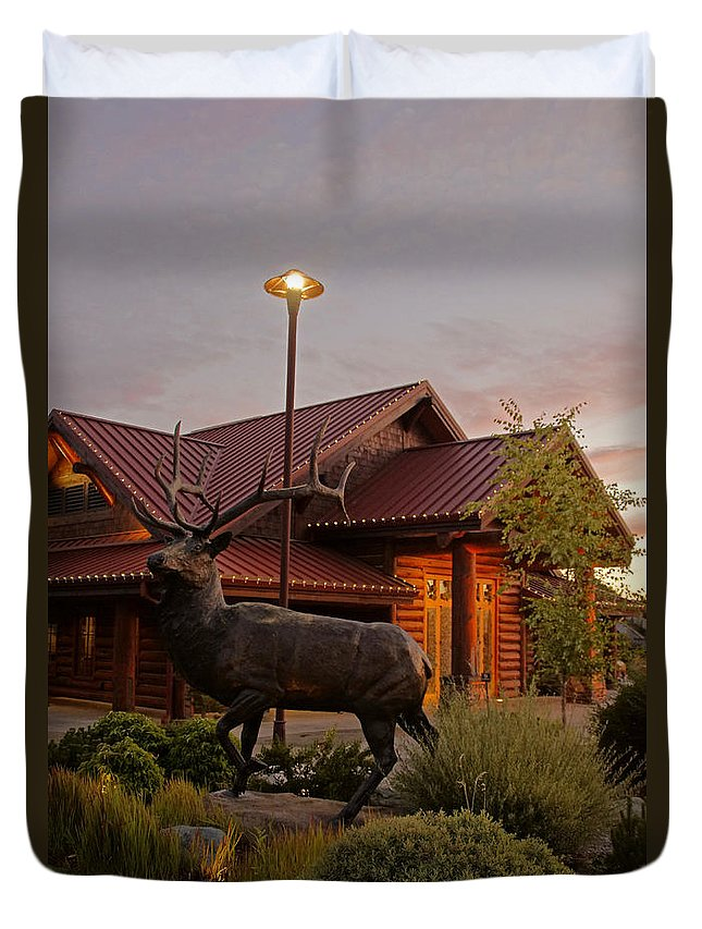 Bronze Duvet Cover featuring the photograph Bronze Elk At Taprock by Mick Anderson