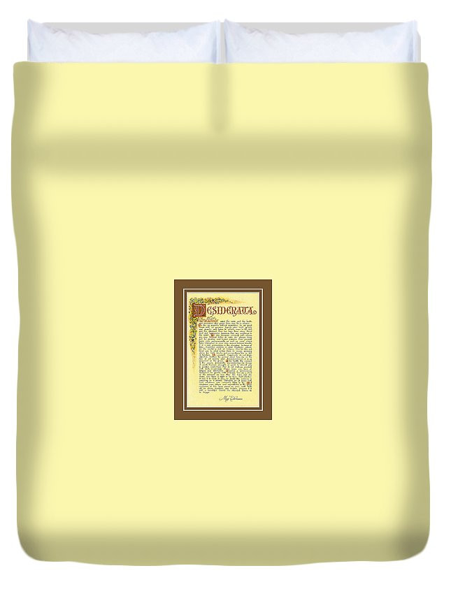 Desiderata Duvet Cover featuring the mixed media Bronze Matted Florentine Desiderata Poster by Desiderata Gallery