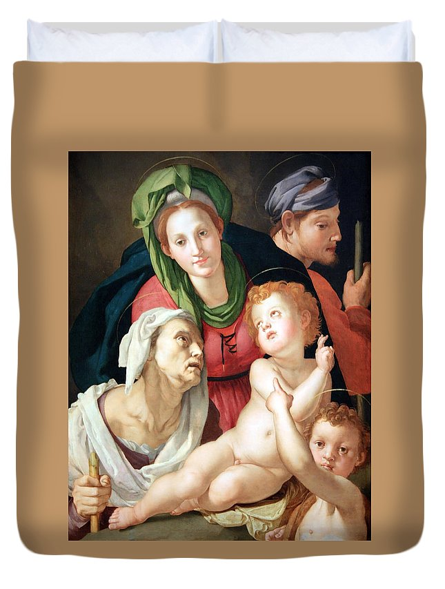 The Duvet Cover featuring the photograph Bronzino's The Holy Family by Cora Wandel