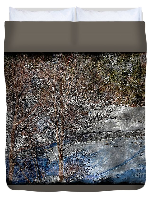 Brook And Bare Trees Duvet Cover featuring the photograph Brook And Bare Trees - Winter - Steel Engraving by Barbara Griffin