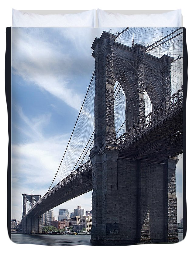 Brooklyn Bridge Duvet Cover featuring the photograph Brooklyn Bridge by Mike McGlothlen