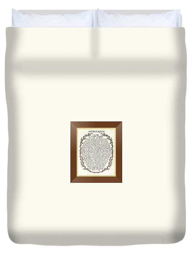 Desiderata Duvet Cover featuring the mixed media Brown Frame Color Wreath Desiderata Poem by Desiderata Gallery