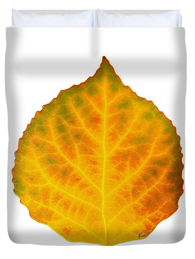 Aspen Leaf Duvet Cover featuring the digital art Brown Green Orange Red And Yellow Aspen Leaf 3 by Agustin Goba