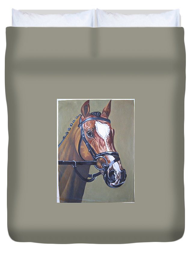 Oil Painting On Canvas Duvet Cover featuring the painting Brown Horse by Sankaranarayanan