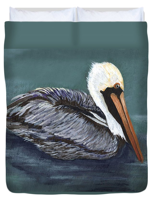 Pelican Duvet Cover featuring the painting Brown Pelican On Water by Elaine Hodges
