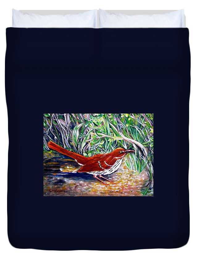 Brown Thrasher Duvet Cover featuring the painting Brown Thrasher In Sunlight by Carol Allen Anfinsen