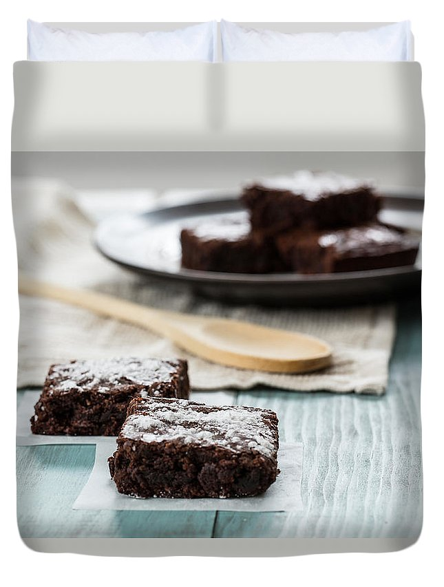 Brownies Duvet Cover featuring the photograph Brownies With A Wood Spoon Kitchen Art by Carol Mellema
