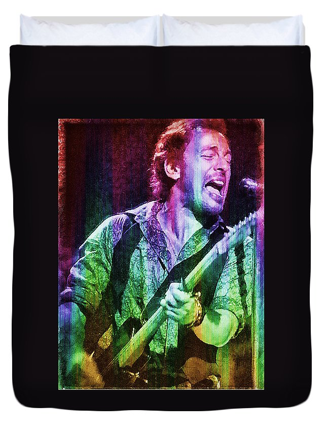 Bruce Paintings Duvet Cover featuring the digital art Bruce Springsteen by Galeria Trompiz