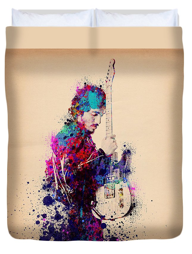 Music Duvet Cover featuring the painting Bruce Springsteen Splats And Guitar by Bekim M