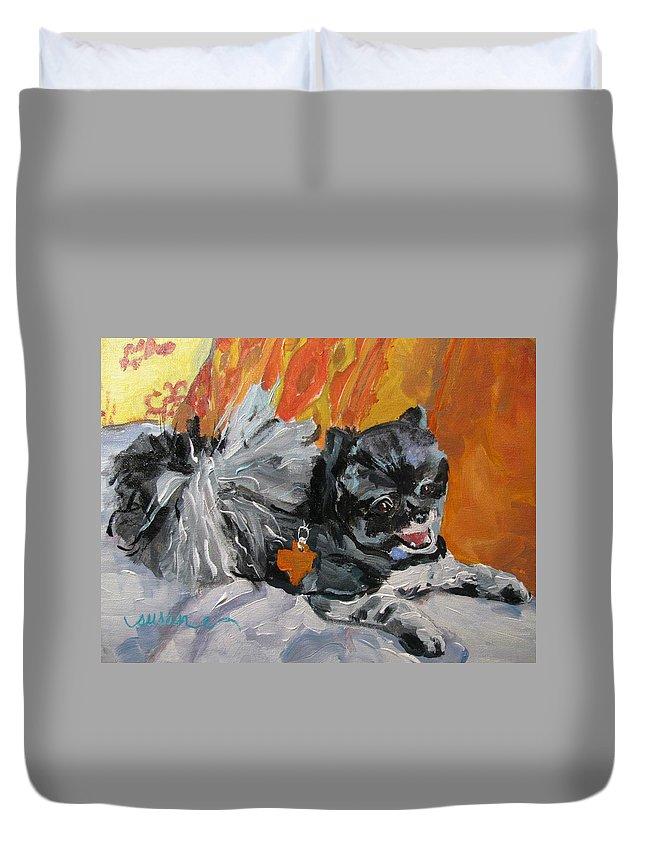 Dog Duvet Cover featuring the painting Bruiser by Susan Elizabeth Jones
