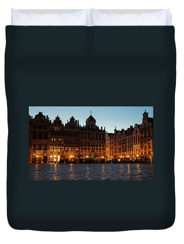 Brussels Duvet Cover featuring the photograph Brussels - Grand Place Facades Golden Glow by Georgia Mizuleva