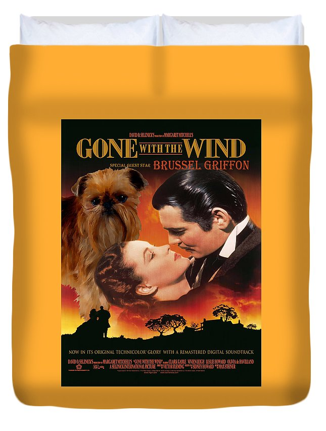 Brussels Griffon Duvet Cover featuring the painting Brussels Griffon Art - Gone With The Wind Movie Poster by Sandra Sij